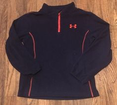 Under Armour  Boys Youth Long Sleeve Pullover 1/4 Zip Fleece Size 7 Blue Orange  #UnderArmour #FleeceJacket #Everyday