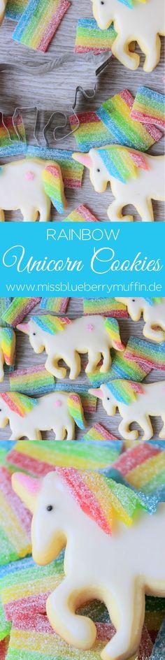 Regenbogen-Einhorn-Cookies! Süßer geht es nicht! <3 // Rainbow Unicorn Cookies