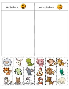 Kindergarten Farm cut and paste worksheets | Farm Sort worksheet - Free ESL printable worksheets made by teachers