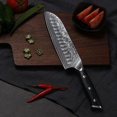 QUALITY DAMASCUS VG10 STEEL Japanese Chef Knife General-Purpose Knife with Fluted Edge Knives And Tools, Knives And Swords, Shun Cutlery, Shun Knives, Japanese Chef, Chefs, Skinning Knife, First Kitchen, Work Tools