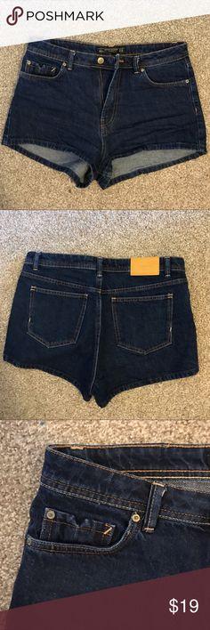 Zara high waisted denim shorts High waisted blue denim shorts. Worn once. Zara. Perfect for spring and summer. Zara Shorts Jean Shorts