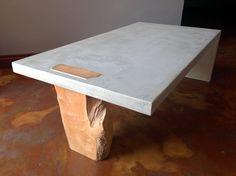 Light grey concrete cast with jacaranda insert [projects@floatdesign.co.za] #concretefurniture