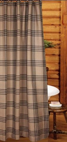 "Oat-Black Chesterfield Check Shower Curtain 72"" x 72"""