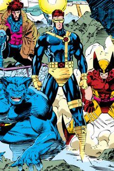 X-Men-Beast, Gambit, Cyclops, and Wolverine by Jim Lee