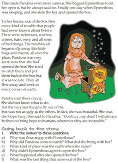 Grade 5 Reading Lesson 19 Myths And Legends Pandora And The Box Of Troubles 1 Stories With Moral Lessons, Moral Stories For Kids, Esl Lessons, Reading Lessons, Reading Skills, Grade 1 Reading, Kids Reading, Reading Comprehension Activities, Reading Worksheets