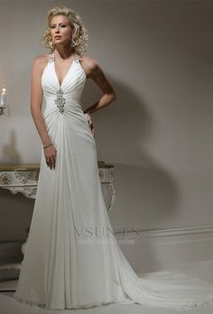 Vestido de novia Corte-A Cola Capilla Sencillo Plisado Espalda medio descubierto