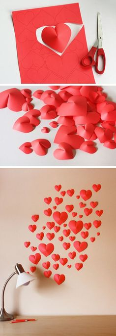 This one is rather easier to make but simply beautiful. Cut out different sizes of hearts and glue it partly in the middle so it would pop. Then simply place it strategically on your wall depending on what design you want.