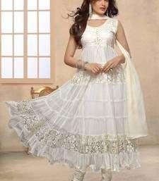 Buy White designer hot long anarkali suit by fabfiza anarkali-salwar-kameez online