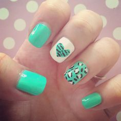 Leopard & heart nail art