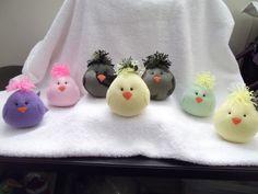 Yellow w Camo hair Baby Chick handmade plush by kathysdollsandmore, $10.00