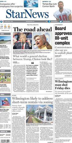 Front page for Tuesday, May 3, 2016