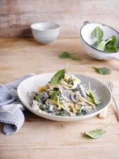 A quick and easy spinach and mushroom pasta with Alpro Go On Plain