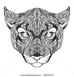 Puma head tattoo. Vector illustration - stock vector