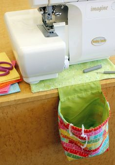 Stitch a handy thread catcher for your serger! The no-slip mat will keep your  thread catcher—and your machine—in place while sewing.