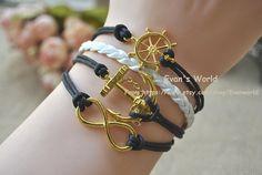 Golden infinite Rudder & Anchor bracelet handmade by Evanworld, $4.20 Fashion charm handmade personalized bracelet, the best gift.