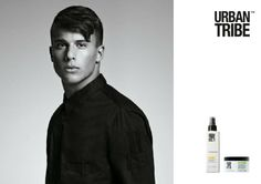 Trendy and strong haircut yet styled as a good boy! 02.1 leave in no rinse conditioner before blow dry, then apply 07.6 matt fiber to fix and define. By Alain Pichon for UT.