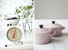 an antique scale, and pink le creuset