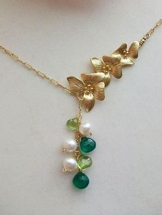 Peridot Necklace Pearl Necklace Onyx Necklace Gold by AnnTig, $39.95
