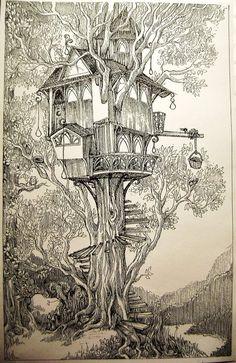 Treehouse by eralastiel on DeviantArt Cool Art Drawings, Ink Pen Drawings, Art Sketches, Beautiful Drawings, Beautiful Pictures, Tree House Drawing, Environment Concept Art, Pen Art, Art Sketchbook