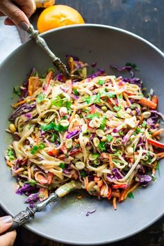 Thai Noodle Salad with Peanut Sauce Thai Noodle Salad with Peanut Sauce- loaded up with healthy veggies and the BEST peanut sauce eeeeeeeeeever! Vegan & Gluten-Free Noodle Salad with Peanut Sauce Thai Noodle Salad with Peanut Sauce- loaded up with healthy Wallpaper Food, Thai Noodle Salad, Thai Noodle Soups, Thai Pasta, Asian Cold Noodle Salad, Veggie Noodle Stir Fry, Sesame Noodle Salad, Noodle Salads, Rice Noodle Recipes