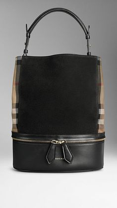 Medium House Check and Leather Bucket Bag | Burberry