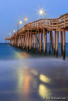 Nags Head Fishing Pier at twilight on the Outer Banks. What a beautiful pier! I want to visit Nags Head again someday. Nags Head North Carolina, North Carolina Coast, Outer Banks North Carolina, Outer Banks Nc, Outer Banks Vacation, Vacation Trips, Vacation Spots, Vacations, Oh The Places You'll Go