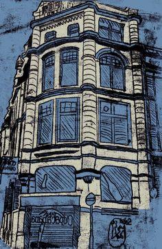 monoprinting buildings - Google Search A Level Art, 3d Design, Printmaking, City Photo, Scene, Urban, Year 2, Uni, Artwork