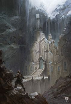 Snow Elf Temple is official concept artwork used by Bethesda Game Studios for The Elder Scrolls V: Skyrim. This limited edition Certified Art Giclee print Dark Fantasy, Fantasy City, Fantasy Castle, Fantasy Kunst, Fantasy Rpg, Medieval Fantasy, Fantasy World, Final Fantasy, Fantasy Artwork