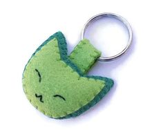 Green cat key ring, cute green kitty keychain, handmade plush cat accessory