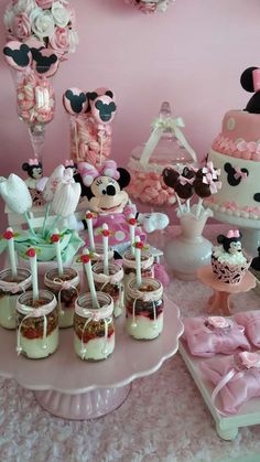 Jar desserts at a Minnie Mouse birthday party! See more party planning ideas at CatchMyParty.com!