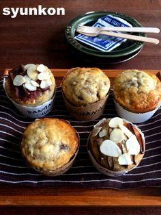 【簡単!!!】おすすめです!焼くまで5~10分!紙コップで*しっとりバナナマフィン|山本ゆりオフィシャルブログ「含み笑いのカフェごはん『syunkon』」Powered by Ameba No Cook Desserts, Sweets Recipes, Snack Recipes, Snacks, Mini Cakes, Cupcake Cakes, Homemade Sweets, Doughnut Cake, Cafe Food