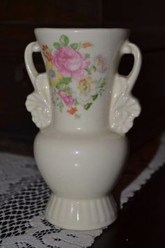 Vintage Royal Copley Porcelain Vase, Cream with Floral Design, Double Handled