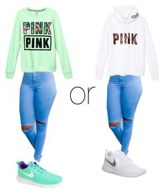 """""""Wat  would yu wear??"""" by lovermonster ❤ liked on Polyvore featuring Victoria's Secret PINK and NIKE"""