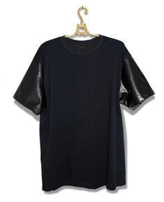 If I could, I would. Navy tee with leather sleeves ~ Old Man Fancy.