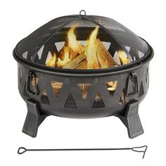 Garden Treasures 29.92-in W Antique Black Steel Wood-Burning Fire Pit from Lowe's, $99. Sturdy, well rated. Need to fill up with 50 lbs of sand!