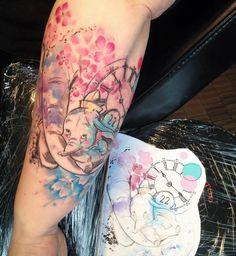 Dumbo disney watercolor tattoo Carolina Avalle                                                                                                                                                                                 More