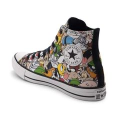 Complete your classic look with the iconic style of the new Chuck Taylor All Star Hi Looney Tunes Sneaker from Converse! These crazy-cool Looney Tunes Chucks sport a high-top design, constructed with a soft canvas upper with allover graphics of your favorite Looney Tunes characters, and signature Chuck Taylor logo patch. <b>Only available at Journeys and Underground by Journeys!</b>  <br><br><u>Features include</u>:<br> > High top style ...
