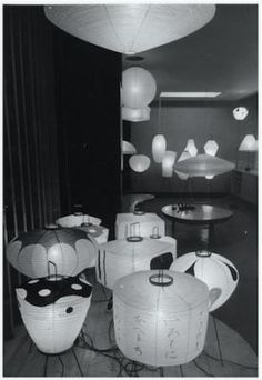 1951 Noguchi visits Gifu, an old lantern manufacturing town, where he is invited by the Mayor, and creates his first Akari lantern designs, named for the Japanese word for illumination.