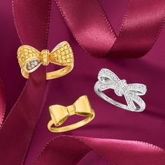Put a bow on it 🎀 #NationalBowDay Item #: 923480, 923304, 786421 Trendy Jewelry, Jewelry Trends, Face Jewellery, Front Back Earrings, Midi Rings, Geometric Jewelry, Bows, Brooch, Drop Earrings