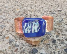Copper Bracelet Cuff Fused Glass Blue Glass by PiecesofhomeMosaics