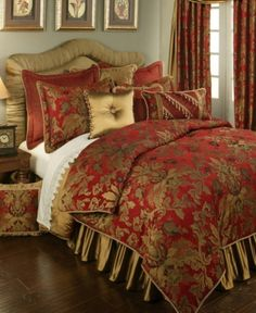 luxury bedding collection in red and gold, the Austin Horn Verona bed set will transform your bedroom into an elegant, opulent and luxurious getaway. Austin Horn is renowned for its use of color, fabric and texture. Red Bedding Sets, Luxury Comforter Sets, King Comforter Sets, Duvet Sets, Queen Duvet, Gold Bedding, King Duvet, European Pillows, Luxury Bedding Collections