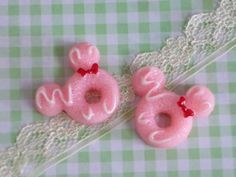 2 pcs Mouse Head Doughnuts cabochons Pink Doughnuts by forestdiy