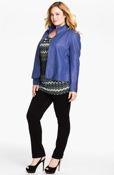 Kenneth Cole New York 'Lauren New Ventura' Lamb Leather Jacket (Plus) available at #Nordstrom