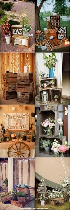 Rustic country wooden crate wedding decor ideas / http://www.deerpearlflowers.com/country-wooden-crates-wedding-ideas/ #WeddingIdeasFall