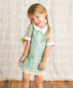 Look at this Aqua Floral Collared Tunic - Toddler & Girls on #zulily today!