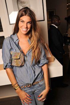 Denim-on-denim look by Bianca Brandolini perfectly accessorized w/ a leopard skinny belt & Fendi Baguette bag #StreetStyle