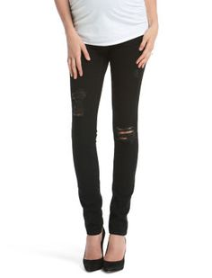 Love the rebellious look of the destroyed black denim! ~ Jessica Simpson Secret Fit Belly 5 Pocket Skinny Leg Maternity Jeans #motherhoodmaternity