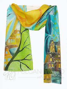 Hand Painted Silk Scarf - Old Town Day and Night - in Green Blue Turquoise Orange Yellow Wearable Art READY TO SHIP.