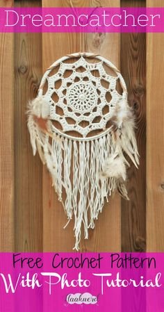 Crochet Tutorial Ideas Free crochet pattern with photo tutorial for Fringed Dreamcatcher Crochet Wall Art, Crochet Home, Crochet Gifts, Crochet Doilies, Free Crochet, Doily Patterns, Crochet Patterns, Crochet Dreamcatcher Pattern Free, Dream Catcher Patterns