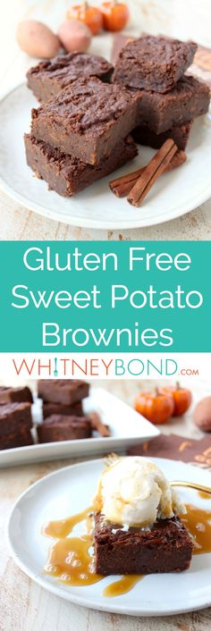 Gluten Free Sweet Potato Brownies are a rich and creamy treat, perfect for fall, topped with vanilla bean ice cream and drizzled with caramel syrup!